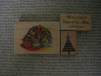 £1 • Buy Wooden Backed Rubber Stamps 'Christmas Trees & Text'.