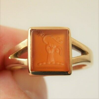 £995 • Buy Antique Victorian 15ct Gold Carnelian Intaglio Crested Seal Signet Ring C1895