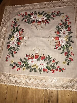 $ CDN17.31 • Buy Gorgeous Details Vintage Hand Embroidered Linen Tablecloth Christmas Crochet Ed
