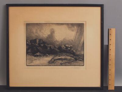 £58.88 • Buy Antique Signed ALPHONSE LEGROS French Farm At The Monastery Etching Print NR