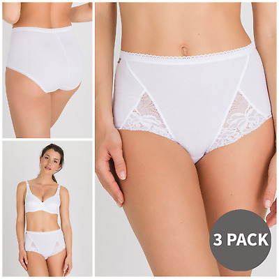 £20.99 • Buy Playtex Cotton & Lace Maxi Briefs 3 Pack Of Full Cotton Briefs With Lace BNIB