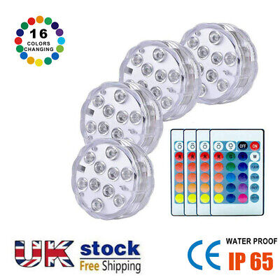 £13.60 • Buy 2021 10 Led Submersible Light Remote Control RGB 16 Colors For Outdoor Pond 4pcs