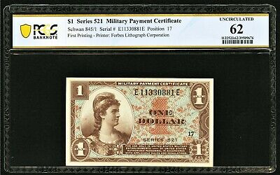$90 • Buy Series 521 Military Payment Certificate MPC $1 PCGS Uncirculated 62