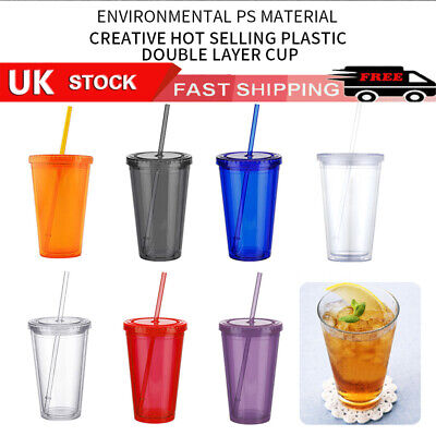£7.49 • Buy 500ml Double Walled-Cup Plastic Clear With Lid And Straw Drinks Insulated Winter