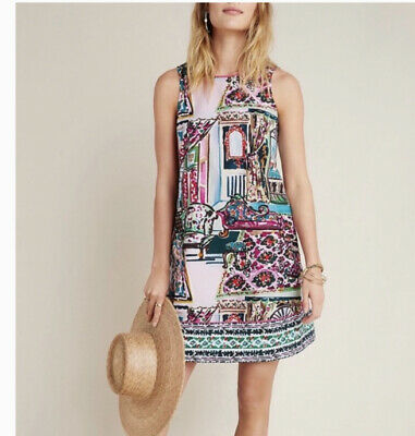 $ CDN56.43 • Buy Nwt Anthropologie Amelia Lined Mini Shift Dress Multicolor Pictorial Print Xs