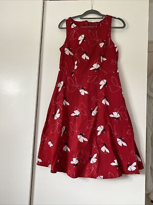 £2.50 • Buy Gok Wan Red Floral Fit & Flare Tea Dress Size 12 R Worn Once