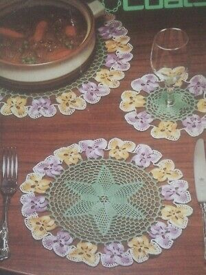 £0.99 • Buy Coats Vintage Crochet Pattern No 417 PANSY LUNCHEON SET Flowers Table Mats