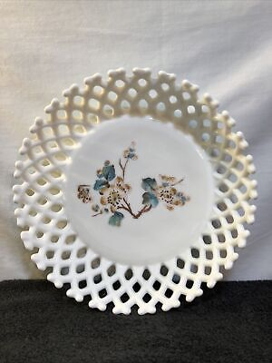 $10 • Buy VTG White Milk Glass Open Lattice Bowl Hand Painted Flowers By Atterburry?