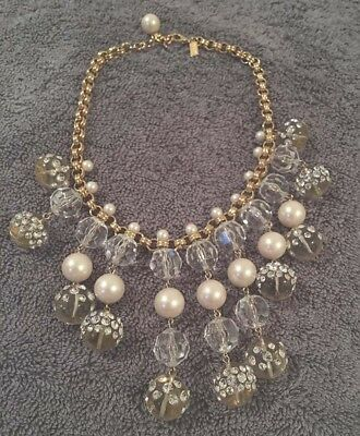 $ CDN50.29 • Buy KATE SPADE Champagne Bubbles Statement Faux Pearl Lucite Bib Necklace In Box