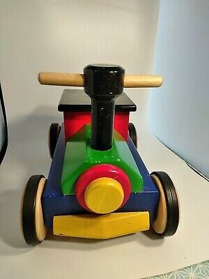 £35 • Buy John Crane Pintoy Ride On Wooden Train Toy. Painted Wooden Toy Condition