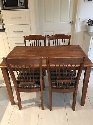 AU30 • Buy Small Timber Dining Table & Chairs 5 Piece Set