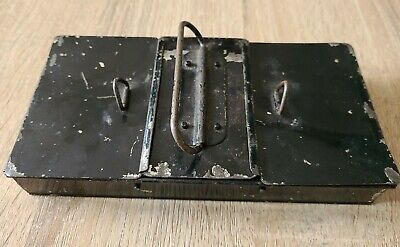 £5 • Buy Vintage Petty Cash Black Box Tin With Carry Handle & 3 Compartments