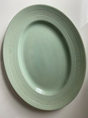 £1 • Buy Woods Ware Beryl (green) Oval Serving Platter / Steak Plate 14 Inches (36cm)