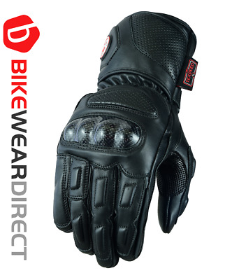 £24.99 • Buy Leather Motorcycle Motorbike Gloves With Carbon Biker Knuckle Protection Scooter