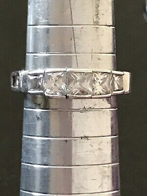 £10 • Buy Vintage Sterling Silver Square Cut CZ Eternity Style Ring Size O.5  *SALE*