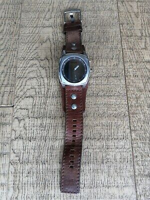 $69.48 • Buy Brown Leather FOSSIL Cuff Watch Reflective Face💙