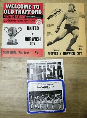 £9.99 • Buy 3 X Norwich City 1970s Away League Cup Semi Final Programmes - All Listed