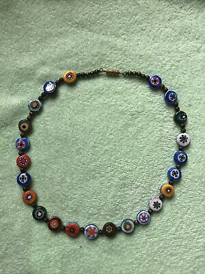 $35 • Buy Vintage Rare Unique Round Flat Sided Millefiori Murano Glass Beads Necklace