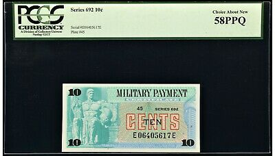 $29.50 • Buy Series 692 Military Payment Certificate MPC 10¢ PCGS Choice About New 58PPQ