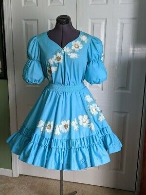 $45 • Buy Square Dance Skirt And Blouse Turquoise With Hand Painted Dogwood Flowers Size P