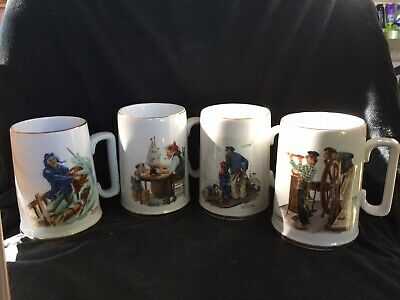 $ CDN12.53 • Buy Vintage 1985 Norman Rockwell Museum Coffee Mugs Cups Set Of 4 White W/ Gold Trim