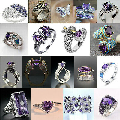 £2.26 • Buy 925 Silver Rings Gorgeous Women Amethyst Wedding Ring Gift Party Jewelry Sz 6-10