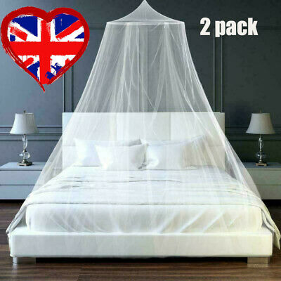 £8.28 • Buy 2x UK Mosquito Net Canopy Fly Insect Protect Single Entry For Double King Bed