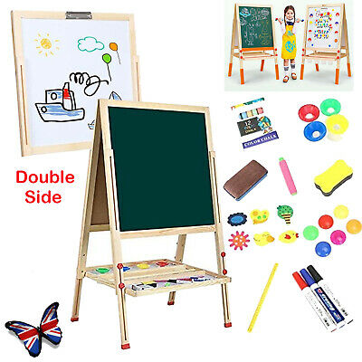 £32.99 • Buy Dripex Kid's Wooden Art Easel Double-Sided Height Adjustable Painting Blackboard