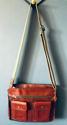 £16 • Buy Vintage 1940's Conker Brown Leather Upcycled Utility Crossbody Bag