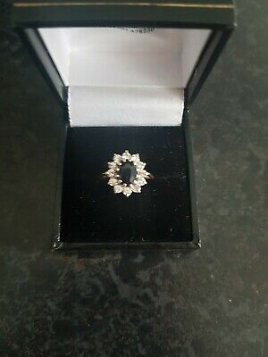 £49 • Buy 9ct Gold Sapphire And CZ Ring