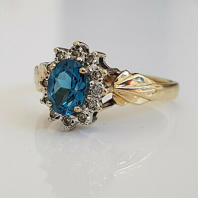 £28 • Buy 9ct Yellow Gold Sapphire & Diamond Cluster Ring Size P Art Deco Style 3.1 Grams