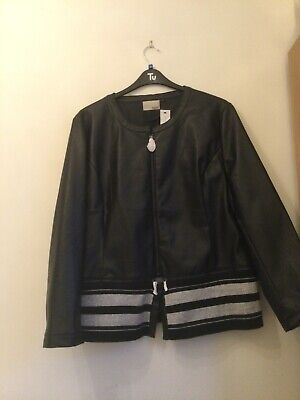 £7.99 • Buy New With Tags Miss Captain Trend Black Faux Leather Jacket EU Size 50