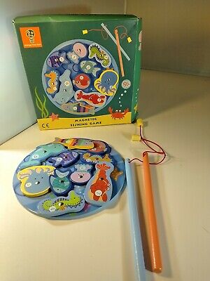 £3.99 • Buy Wooden Magnetic  Fishing Game 10 Pieces Orange Tree Toys. Used V Good Condition