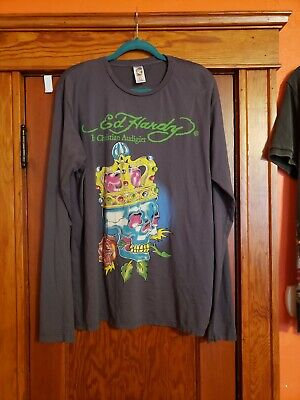 $39.93 • Buy Vintage Ed Hardy Skull With Crown & Rose Gray Long Sleeve Shirt XL