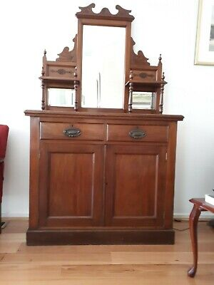 AU120 • Buy Blackwood Antique Sideboard With Beveled Mirrors In Good Condition
