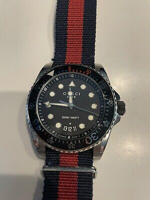 £400 • Buy Gucci Dive 45mm Silver Stainless Steel Case With Blue/Red Nylon Strap Men's