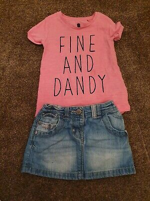 £0.99 • Buy Next Girls Denim Skirt And Pink Tshirt Outfit Size 6-9 Months
