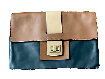 £30 • Buy Anya Hindmarch Navy&Tan Large Leather Clutch Bag With Dust/Tote Bag Brand New
