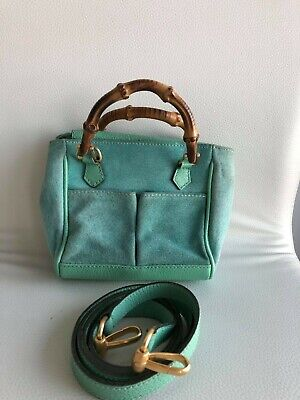 AU370 • Buy Authentic Gucci Bamboo Handle Leather Bag With Strap