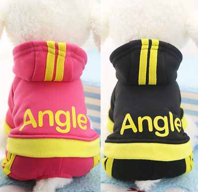 £5.76 • Buy Puppy Fleece 4-legged Jumpsuit With Angle Printing For Dogs Clothes Sport Hoodie