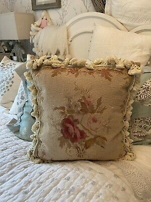 £11.50 • Buy CHELSEA TEXTILES Vintage Aubusson Floral Needlepoint Tapestry Tassel Cushion