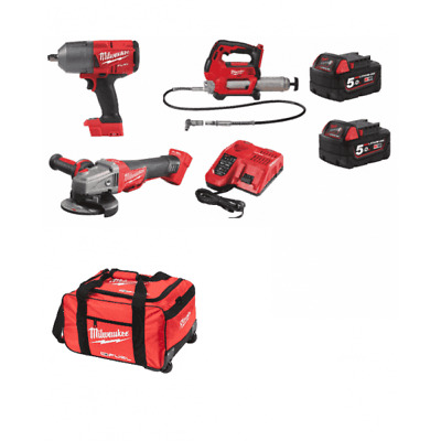 £699 • Buy Milwaukee 18v 3 Piece Kit M18gg Grease Gun, Angle Grinder, 1/2  Impact Wrench