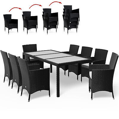 £599.95 • Buy Poly Rattan Dining Table Chairs Set 8 Seater Garden Furniture 190x90cm Black