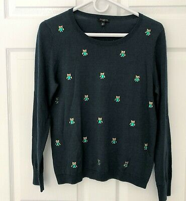 £17.30 • Buy NWT TALBOTS Mp (8P 10P) BEJEWELED OWL SWEATER GREEN LONG SLEEVES