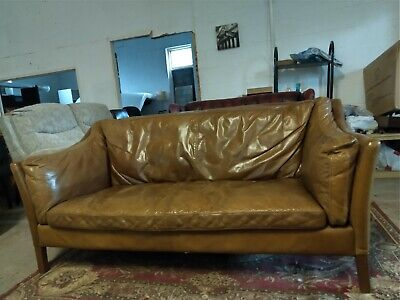 £585 • Buy HALO Groucho Real Leather Sofa Settee Delivery Poss 5 Ft 6 Inch