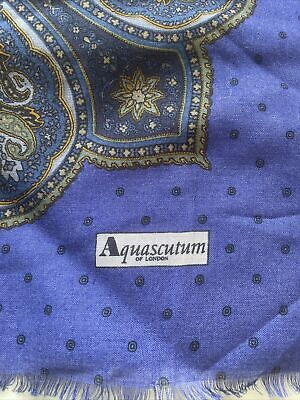 """£24.99 • Buy Aquascutum Square Blue Scarf Brand New Without Tags 54"""" Square"""