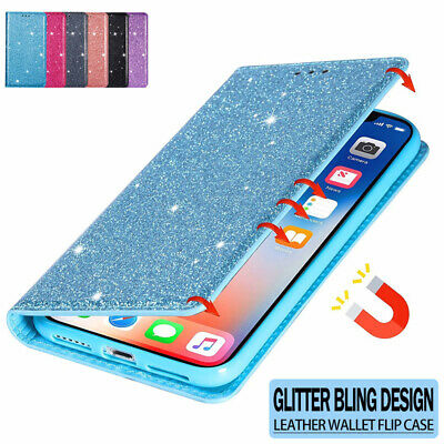AU9.99 • Buy For IPhone 12 11 Pro Max X/XS XR 7/8 Plus Glitter Case Leather Wallet Flip Cover