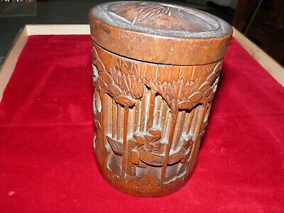 £20 • Buy Japanese Carved Bamboo Tea Caddy  Vintage Antique