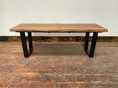 £185 • Buy Live Edge Bench/ Stool/ Solid Wood / Metal Frame / 2 Seater / Indonesian Wood