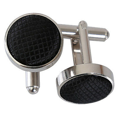 $6.92 • Buy Black Mens Cufflinks Plain Solid Check Silver Plated Cuff Links By DQT